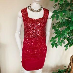 BCBGMaxAzria Sequined Dress, Sz L, Red